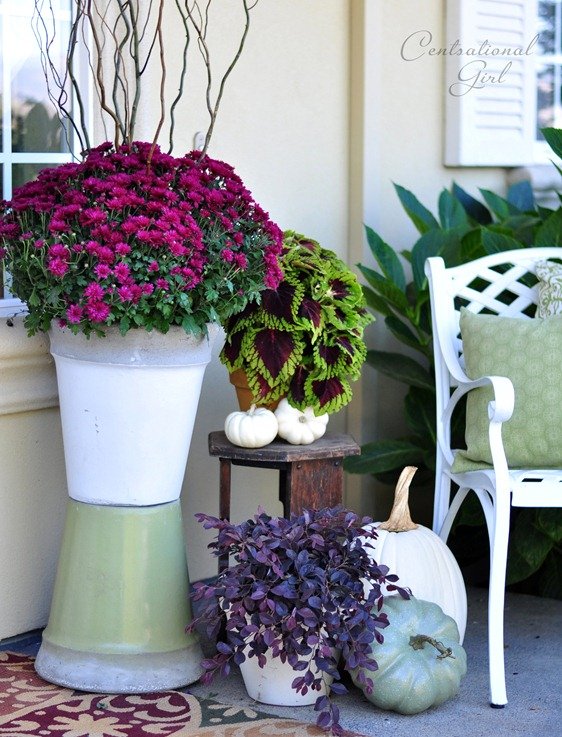 stacked planters on porch cg