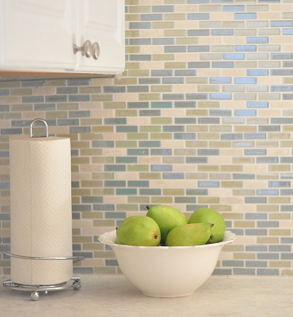 blue green mosaic tile backsplash