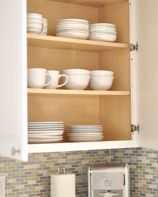 dishes inside cabinets