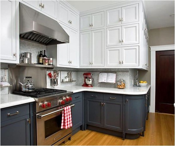 Gray And White Kitchens Cabinet Stain: Upper Lower Versus Inner Outer
