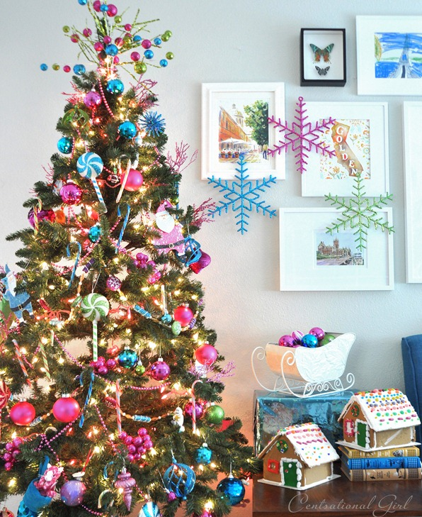colorful christmas tree sleigh and gingerbread