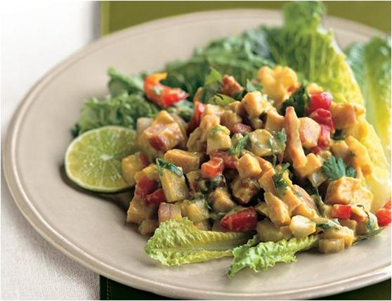 turkey chopped salad with avocado dressing