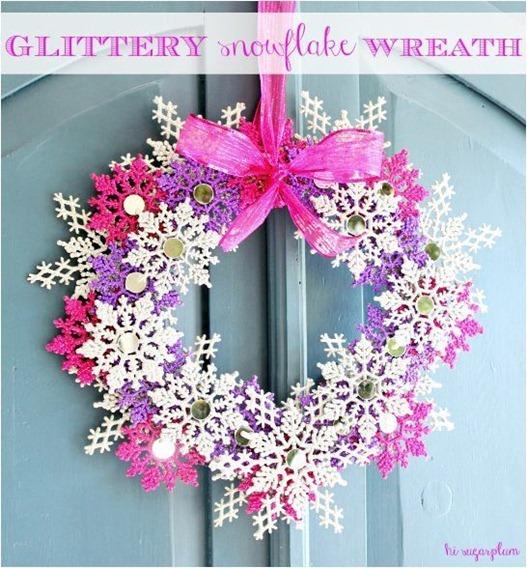 glitter snowflake wreath hisugarplum
