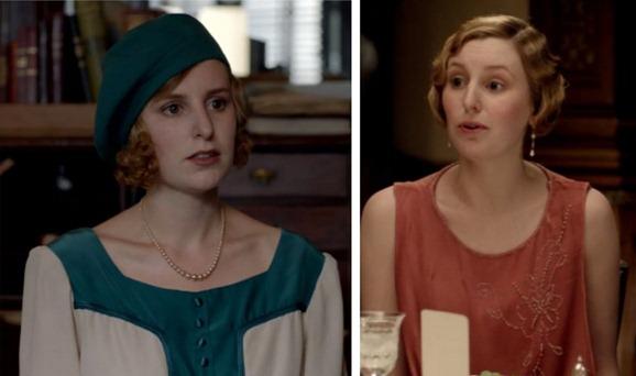 edith in green and apricot downton abbey