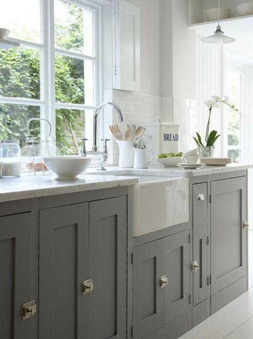gray cabinets white doors