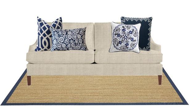 monochromatic pillow styling