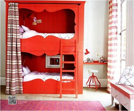 painted bunks with a curtain