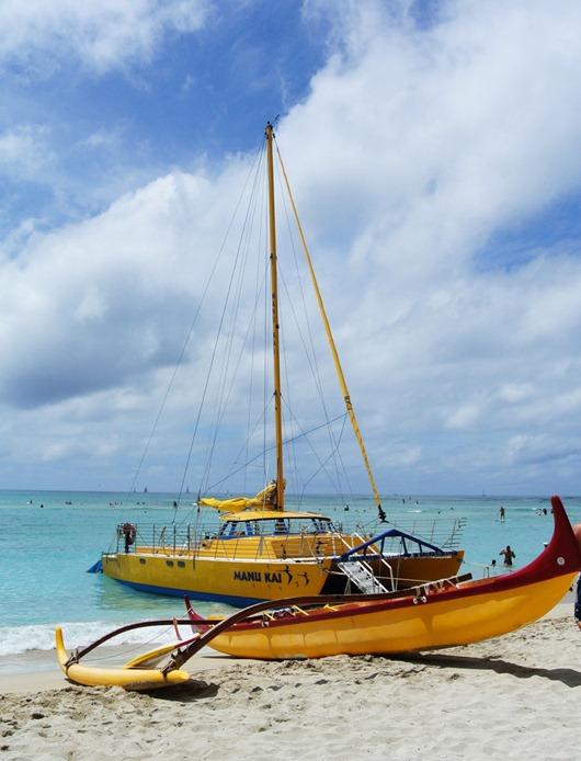 boats at waikiki beach