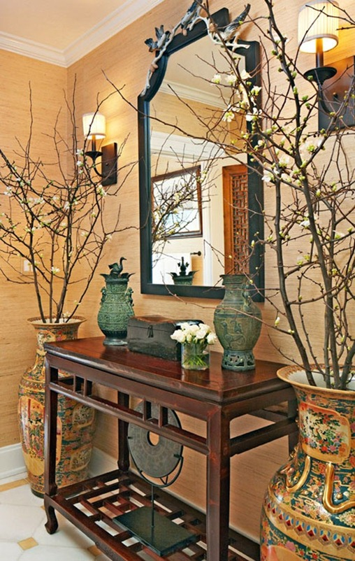 quince branches in entry trad home