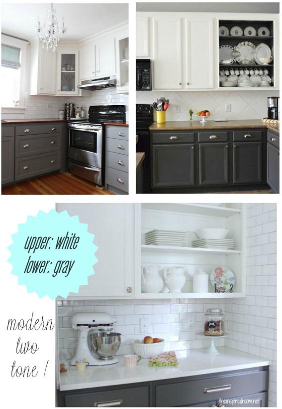 upper white lower gray kitchen cabinet paint