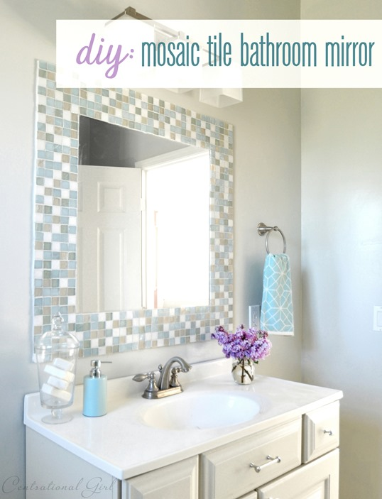 diy mosaic tile bathroom mirror DIY  Mosaic Tile Bathroom Mirror Centsational Style