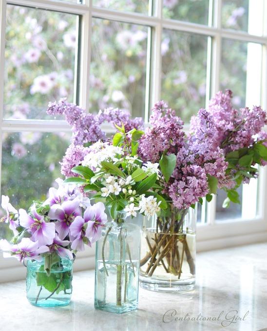 spring blooms in bottles