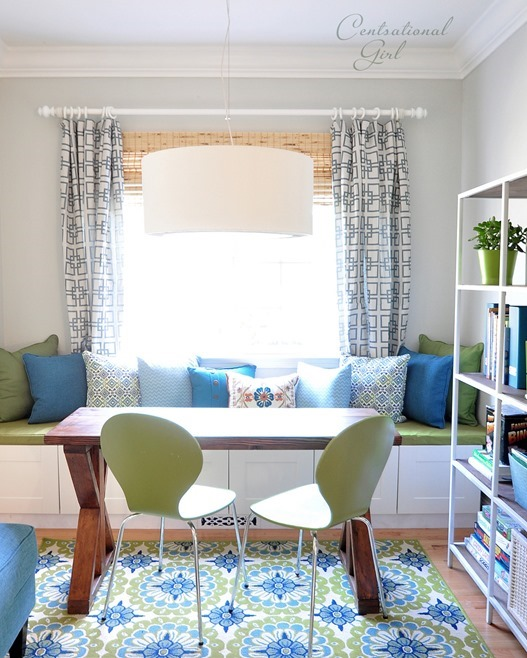 blue and green study with window seat