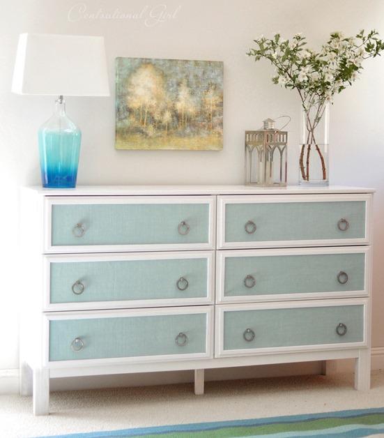 ikea tarva dresser refinished. Blue Burlap Panel Ikea Dresser Makeover Tarva Refinished