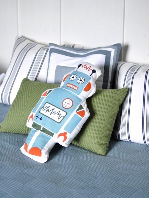 boys room robot pillow