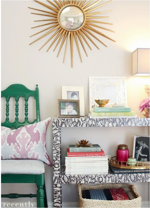 snakeskin wrapped console table recentlyblog
