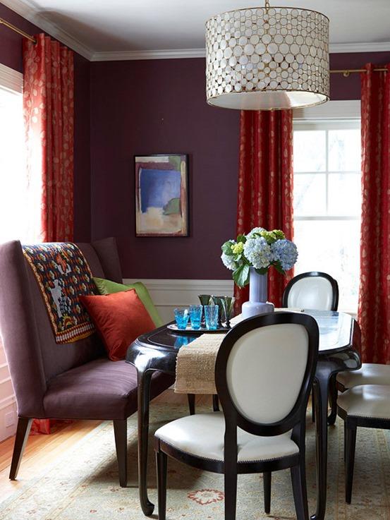 deep plum walls in dining room bhg