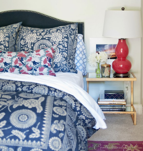 navy and raspberry bedroom