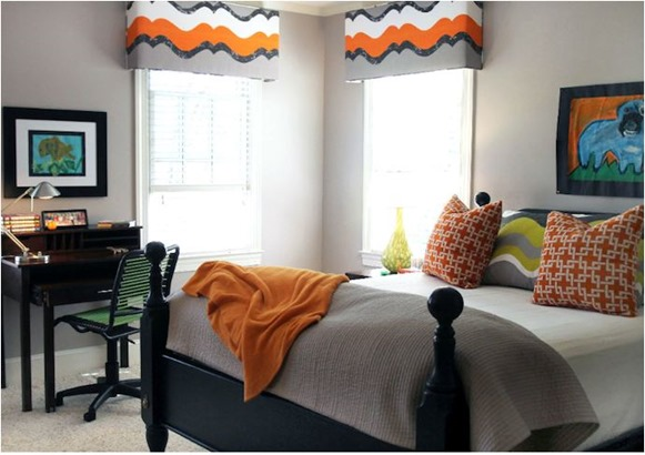 orange and gray boys room lucy and co