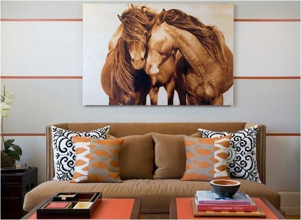 orange and latte brown room