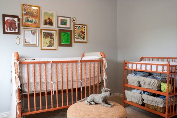 orange crib and changing table alice lane
