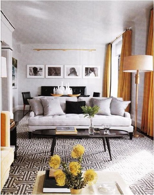 orange window panels in gray room elle decor