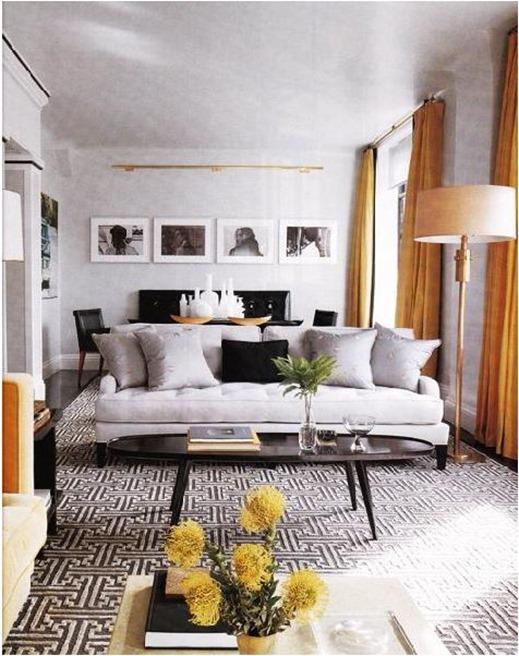Orange Window Panels In Gray Room Elle Decor Part 47