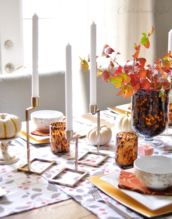 gold candlesticks fall table