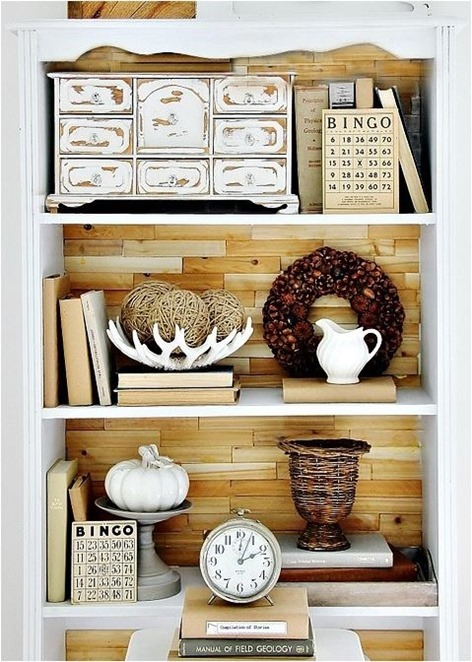 wood shim backed bookcase