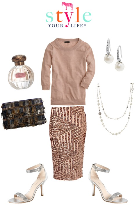 sparkly neutral holiday outfit