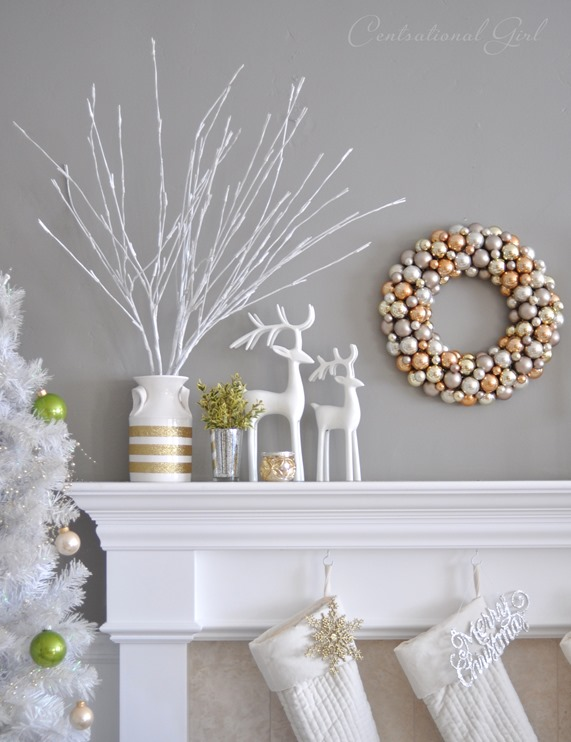 gray wall christmas mantel