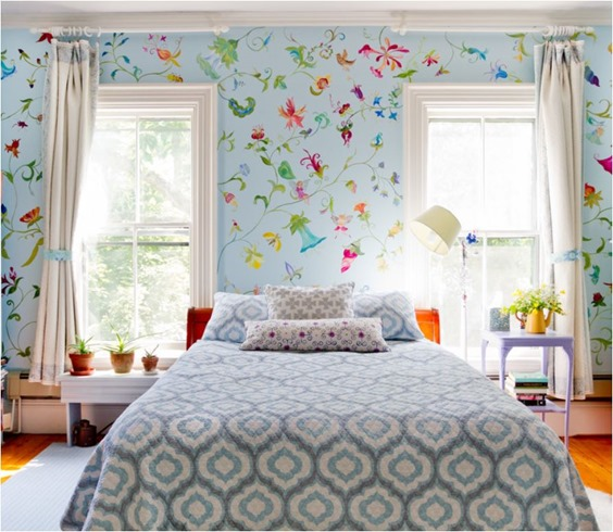 colorful bedroom mismatched nightstands