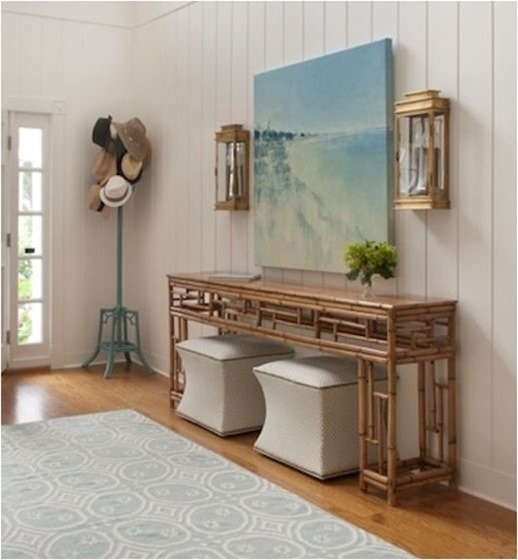 ansley interiors console and art