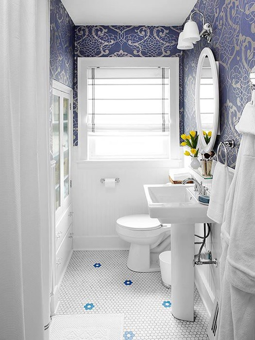 blue and white bathroom bhg