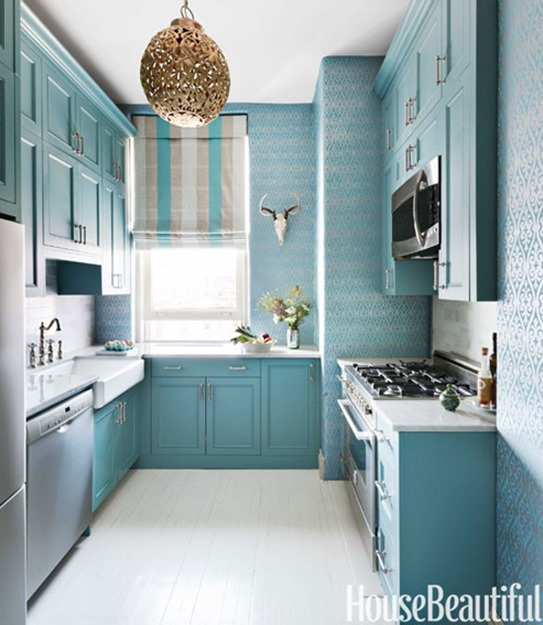 blue kitchen house beautiful
