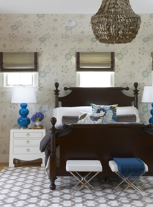 classic bedroom cobalt blue accents