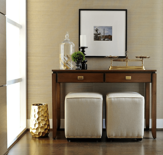 foyer console and ottomans