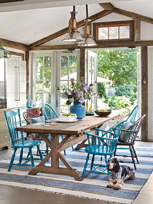 painted blue chairs bhg