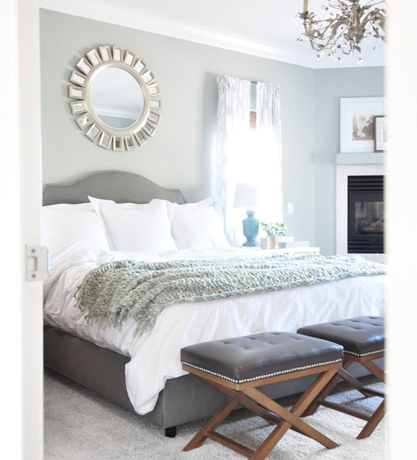 plain white duvet gray bed