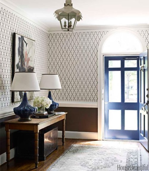 wallpapered entry house beautiful