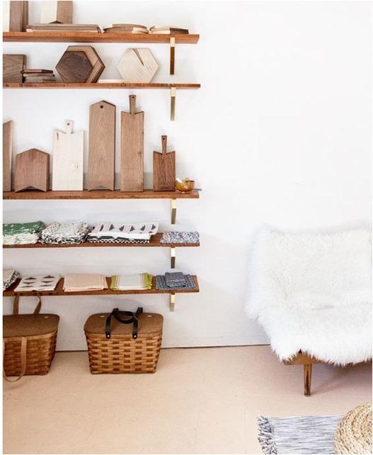 wood and ikea bracket shelves