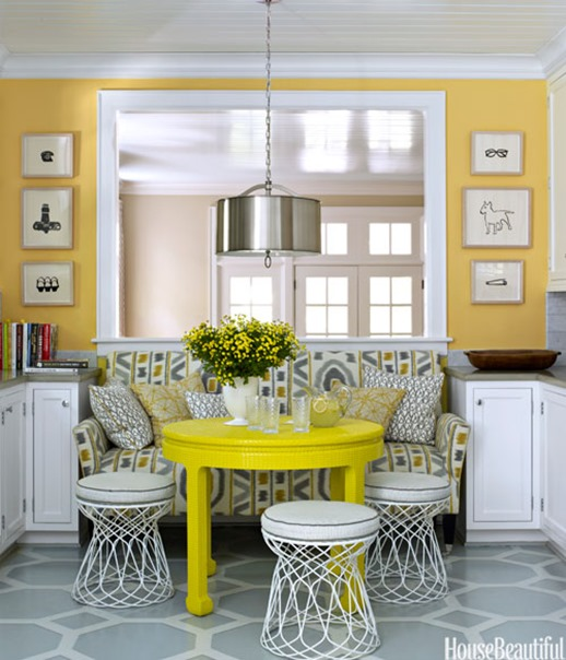 yellow and gray breakfast nook house beautiful