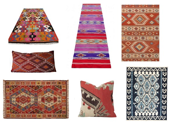 kilim rugs and pillows