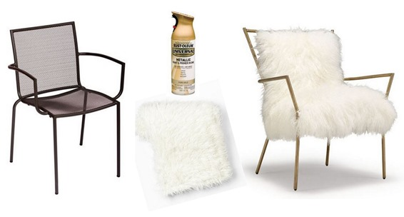 mongolian fur and gold chair diy
