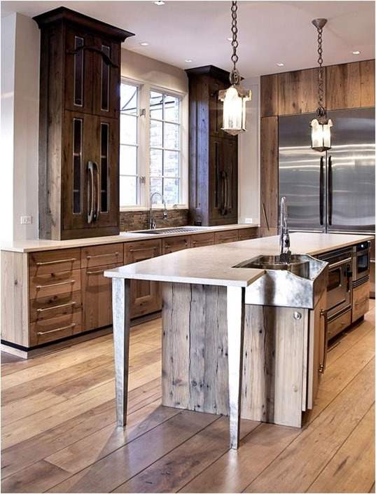 rustic wood cabinets in kitchen