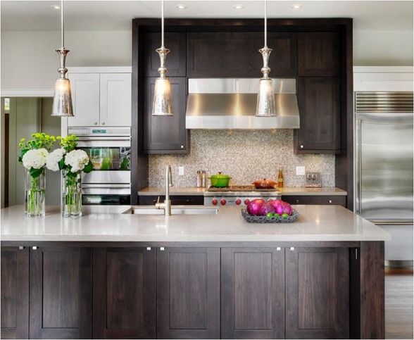 stained shaker style kitchen cabinets