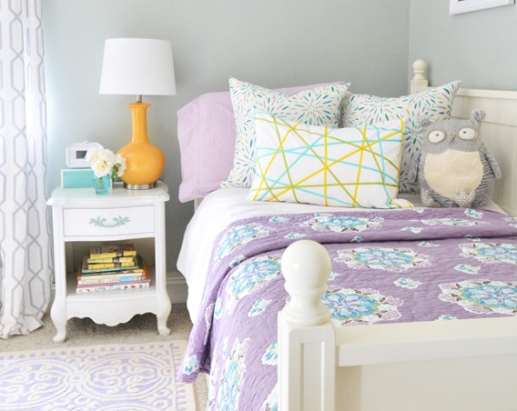 lavender white yellow girls room