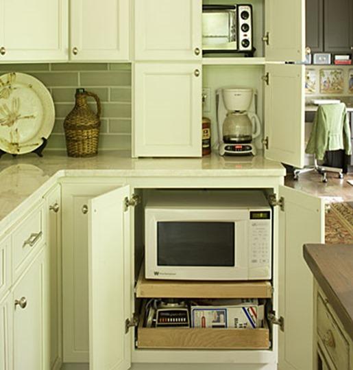hidden microwave on shelf