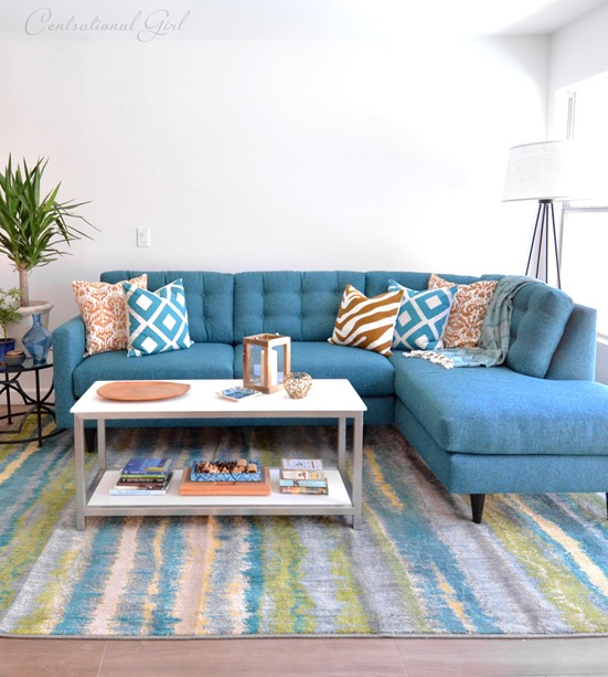 Groovy Our New Teal Blue Sectional Centsational Style Beatyapartments Chair Design Images Beatyapartmentscom