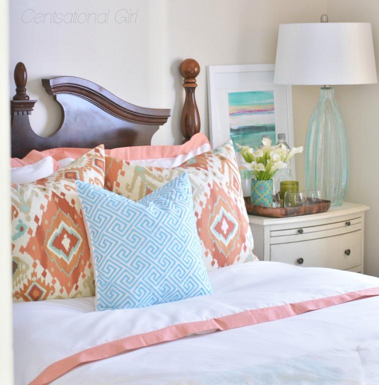 Coral Aqua Guest Room Centsational Style